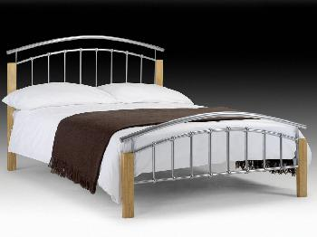 Julian Bowen Aztec Double Silver Metal Bed Frame