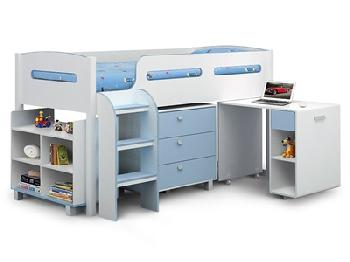 Julian Bowen Kimbo 3' Single White and Sky Blue Cabin bed Cabin Bed