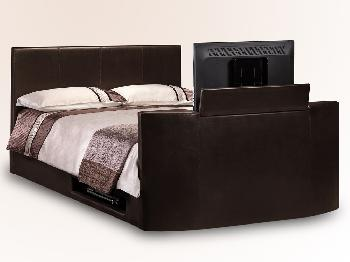 Julian Bowen Optika Double Brown Faux Leather TV Bed