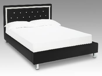 LPD Crystalle King Size Black Faux Leather Bed Frame