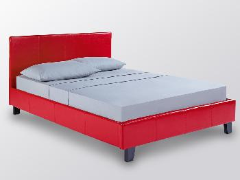 LPD Prado Double Red Faux Leather Bed Frame