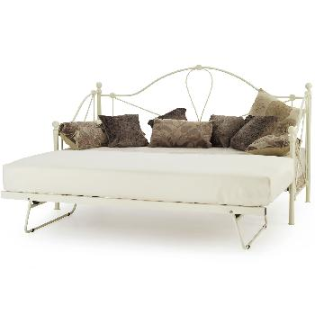 Lyon Small Single Day Bed Ivory With Guest Bed