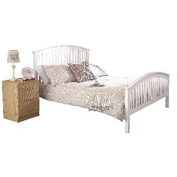 Madrid White High End Wooden Bed Small Double
