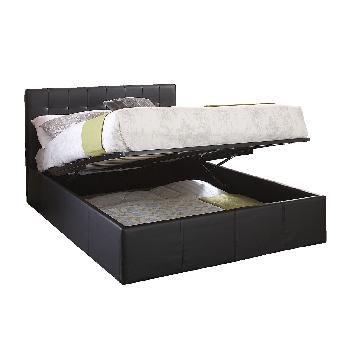 Naples Leather Ottoman Bed Black Double