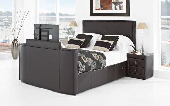 New York Leather TV Bed, Superking, Chocolate Leather, Toshiba 32 HD Ready LED TV
