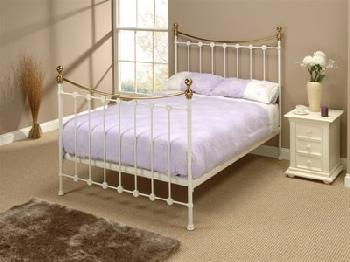 Original Bedstead Co Carrick in White 6' Super King Glossy Ivory Slatted Bedstead Metal Bed