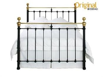 Original Bedstead Co Hamilton in Black 6' Super King Satin Black & Antique Brass Slatted Bedstead Metal Bed