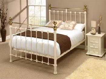 Original Bedstead Co Hamilton in Ivory 6' Super King Glossy Ivory & Antique Brass Slatted Bedstead Metal Bed
