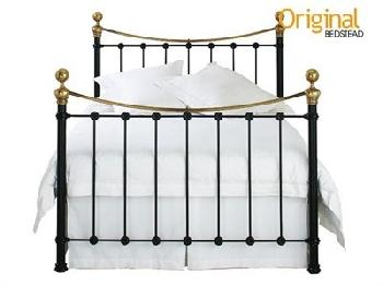 Original Bedstead Co Selkirk in Black and Brass 6' Super King Satin Black & Antique Brass Slatted Bedstead Metal Bed