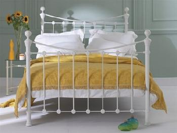 Original Bedstead Co Selkirk in Ivory 6' Super King Glossy Ivory Slatted Bedstead Metal Bed