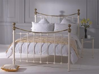 Original Bedstead Co Selkirk in Ivory and Brass 6' Super King Glossy Ivory & Antique Brass Slatted Bedstead Metal Bed