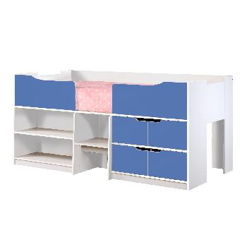Paddington Wooden Cabin Bed - White and Blue