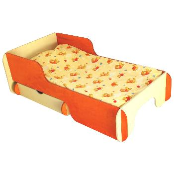 Radis Children Box Bed Frame Orange with Drawer