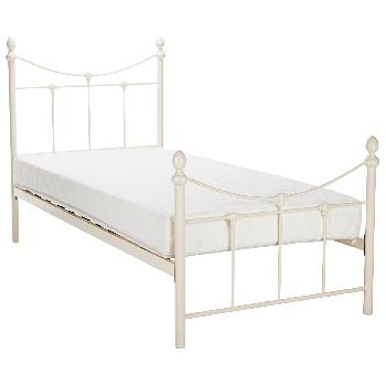 Rebecca Bed Frame in Stone White Single
