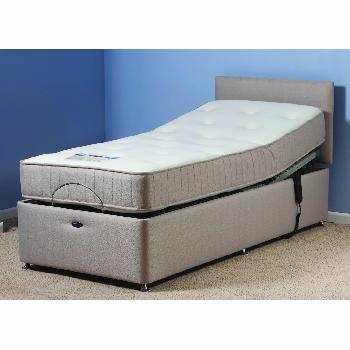 Richmond Beige Adjustable Bed Set with Latex Mattress Single With Heavy Duty With Massage With 1 Drawer (Left) Assembly Included