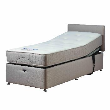 Richmond Beige Adjustable Bed Set with Pocket Memory Foam Mattress Single With Heavy Duty With Massage With 1 Drawer (Left) Assembly Included