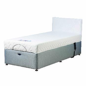 Richmond Grey Adjustable Bed Set with Memory Foam Mattress Single With Heavy Duty Without Massage With 1 Drawer (Right) Assembly Included