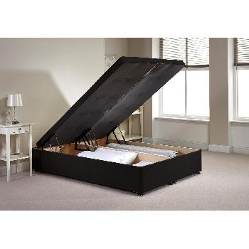 Richworth Ottoman Divan Bed Frame Black Chenille Fabric Double 4ft 6