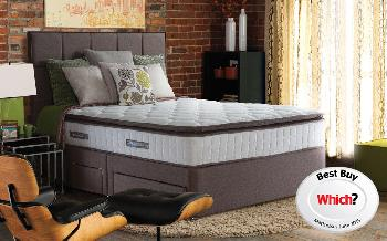 Sealy Nostromo Posturepedic Pocket 1400 Latex Divan, Double, 2 Drawers (FREE), Lindisfarne Headboard, Pewter