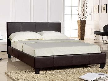 Seconique Prado Double Brown Faux Leather Bed Frame