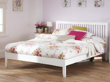 buy online 01cba a1176 Serene 4ft Freya Small Double Opal White Wooden Bed Frame