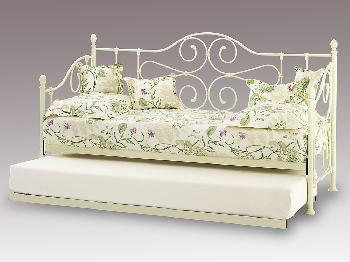 Serene Florence Ivory White Metal Day Bed with Guest Bed Frame