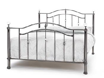 Serene Furnishings Ashley 6' Super King Nickel Metal Bed