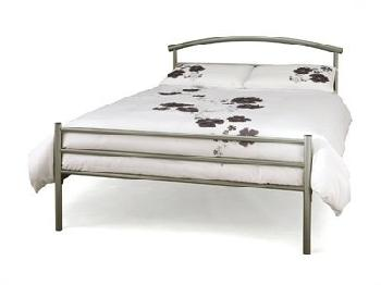Serene Furnishings Brennington 4' Small Double Silver Metal Bed
