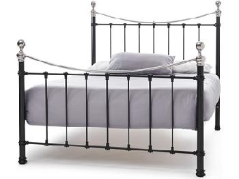 Serene Furnishings Ethan Black/Nickel 6' Super King Black Nickel Metal Bed