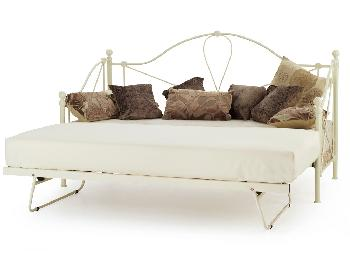 Serene Lyon Ivory Metal Day Bed with Guest Bed Frame