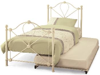 Serene Lyon Ivory White Metal Guest Bed Frame