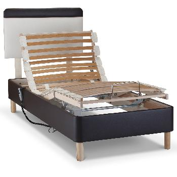 Shallow Adjustable Bed Base Only - Superking - Wooden - Without Massage Unit - Cream Faux Leather