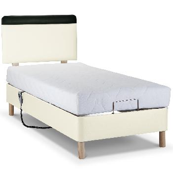 Shallow Adjustable Bed with Latex Mattress - Faux Suede - Single - Wooden - Without Massage Unit - Cream Faux Suede