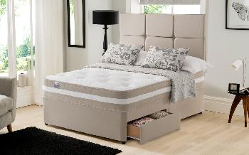 Silentnight Atlanta 1000 Mirapocket Divan, Double, Matching Brescia Headboard, Ottoman Storage