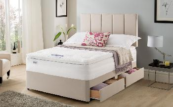 Silentnight Geltex Select 1850 Mirapocket Divan, Double, 2 Drawers, Matching Palermo Headboard