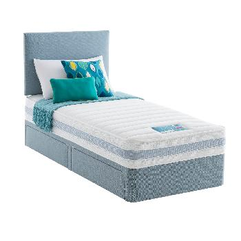 Silentnight healthy growth kids divan set blue single for Cheap single divan with drawers