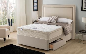 Silentnight Oslo Miracoil Memory Cushion Top Divan, Double, 4 Drawers Continental, Matching Selene Headboard