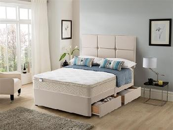 Silentnight Rio Cushion Top Divan Set 4' Small Double Sandstone Platform Top - No Drawers Divan