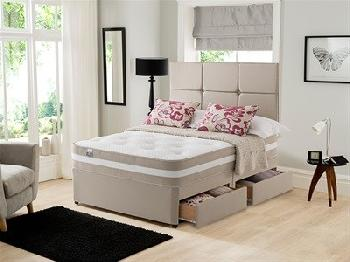 Silentnight Torino Divan Set 4' 6 Double Sandstone Platform Top - 2 + 2 Continental Drawers Divan