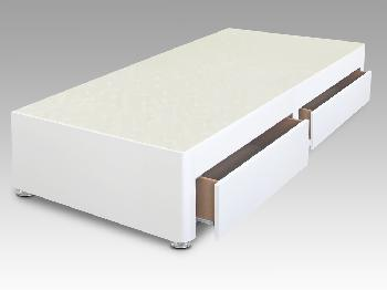 Sleep Relax 2ft 6 Universal Small Single White Faux Suede Divan Base