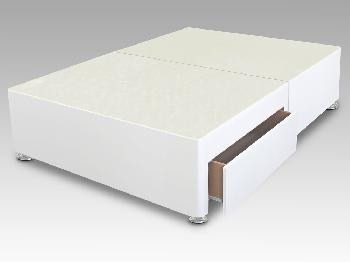 Sleep Relax 4ft Universal Small Double White Faux Suede Divan Base