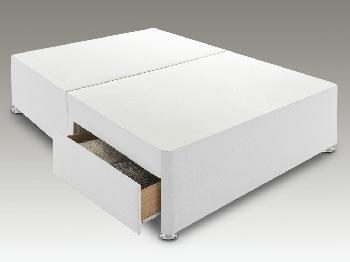 Sleep Relax Universal Super King Size White Faux Suede Divan Base