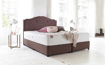 Slumberland Paradise 3000 Pocket Divan, Single, Ottoman Storage, Almond, Plush Headboard