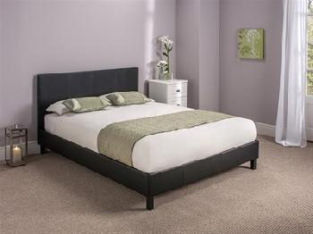 Snuggle Beds Manhattan (Black) 5' King Size Black Slatted Bedstead Leather Bed