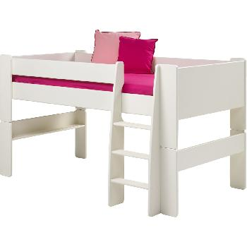 Steens Glossy White Mid Sleeper Bed Frame Steens White Mid Sleeper Frame