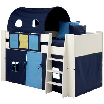 Steens Glossy White Mid Sleeper Bed Frame with Dark Blue Tunnel and Tent Steens White Mid Sleeper Frame with Dark Blue Tunnel and Tent