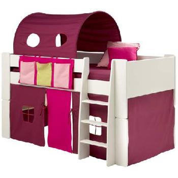 Steens Glossy White Mid Sleeper Bed Frame with Purple Tunnel and Tent Steens White Mid Sleeper Frame with Purple Tunnel and Tent