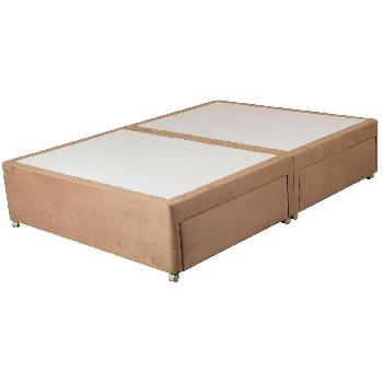 Sweet Dreams Amber Suede Divan Base - Double - Platform - Chocolate - 2 Drawers