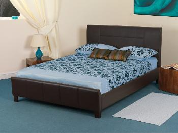 Sweet Dreams Grouse Single Brown Faux Leather Bed Frame