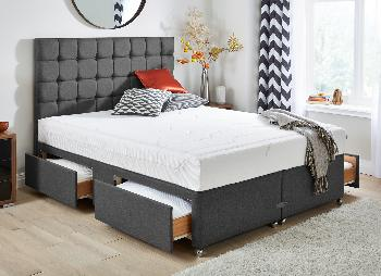Tempur sensation deluxe 22 and luxury base divan bed for Grey divan bed base